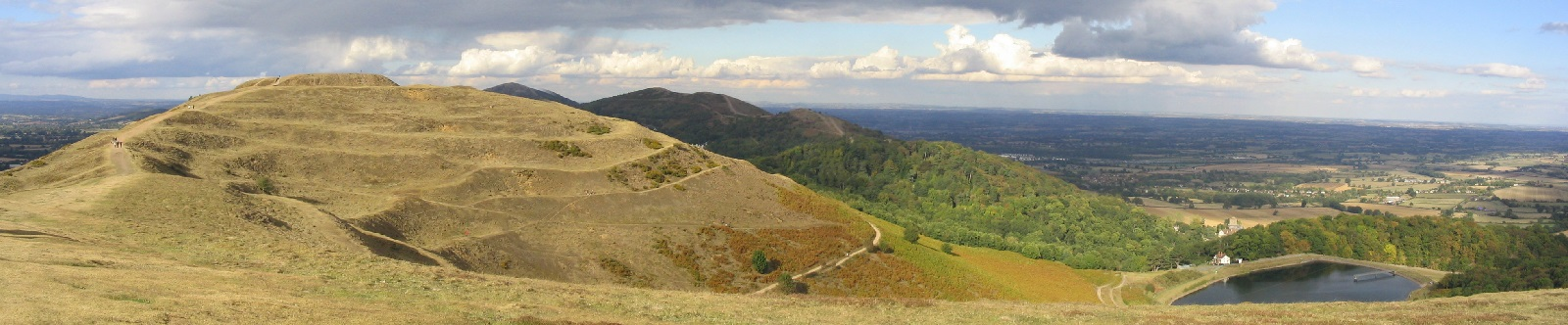 Malvern Hills showing British Camp and reservoir