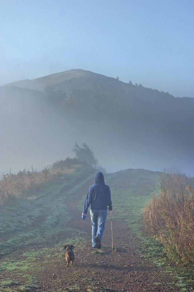 Woman walking with her dog on the Malvern Hills